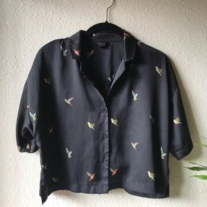 Topshop button down blouse with hummingbirds